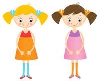 Happy little girls set Stock Photo
