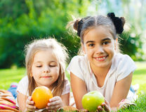 Happy little girls in summer day Stock Photography