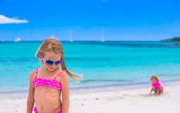 Happy little girls at tropical beach during Royalty Free Stock Photography