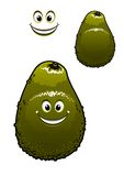 Happy little green cartoon avocado fruit Royalty Free Stock Photography