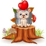 Happy Little hedgehog sittiing on tree stump Stock Images
