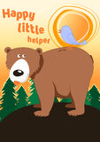 Happy little helper. Vector illustration of a bird and bear in the woods Stock Photo