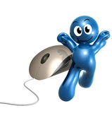 Happy little icon browsing with computer mouse Royalty Free Stock Images