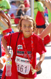 Happy little Ironkids athlete Royalty Free Stock Photography