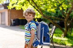 Happy little kid boy with glasses and backpack or satchel on his first day to school or nursery. Child outdoors on warm. Sunny day, Back to school concept stock photo