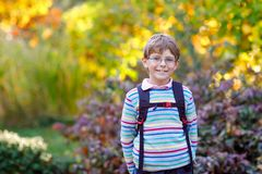 Happy little kid boy with glasses and backpack or satchel on his first day to school on sunny autumn day. Child outdoors stock photos