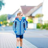 Happy little kid boy with glasses and backpack or satchel on the way to school or nursery. Child outdoors on warm sunny stock photos