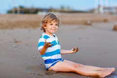 Happy little kid boy having fun with sand castle Royalty Free Stock Photo