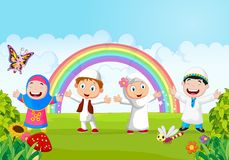 Happy little kid cartoon with rainbow Stock Image
