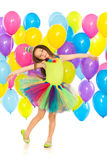 Happy little kid girl  with colorful balloons on Royalty Free Stock Photography