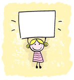 Happy little kid girl holding empty blank. Royalty Free Stock Photos