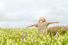 Happy little kid with raised up arms in green  field of flowers. Royalty Free Stock Photography