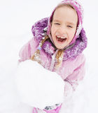 Happy little kid at winter Stock Photography