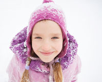 Happy little kid at winter Stock Photos