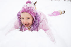 Happy little kid at winter Royalty Free Stock Image