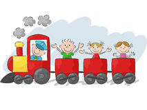 Happy little kids cartoon on a colorful train Royalty Free Stock Image