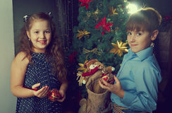 Happy little kids  decorate Christmas tree Stock Photography
