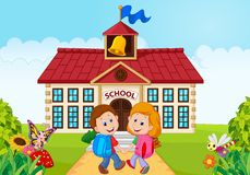 Happy little kids going to school royalty free illustration