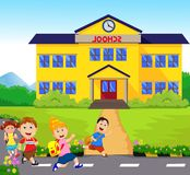 Happy Little kids going to school. Vector illustration of happy Little kids going to school isolated on white Stock Photo
