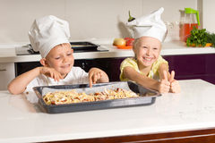 Happy Little Kids Made Pizza Successfully Stock Image