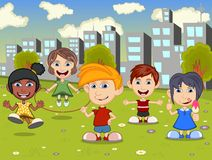 Happy little kids playing on the city playground cartoon Royalty Free Stock Images