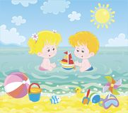 Children playing in water on a sea beach stock illustration