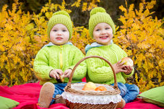 Happy little kids twin brothers on walk Stock Images