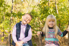 Happy Little Kids Visit Woodland During Autumn Royalty Free Stock Photos