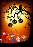Happy little kids wearing costume halloween, Halloween background Stock Images