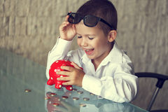 Happy little manager kid retro style Royalty Free Stock Photography