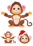 Happy little monkey set Stock Image
