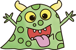 Happy little monster. Happy cute green monster cartoon character Royalty Free Stock Image