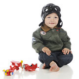 Happy, Little Old-Time Pilot Stock Photo
