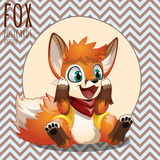 Happy little orange Fox, cartoon vector character Stock Images