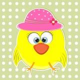 Happy little owl in hat cute cartoon. Stock Image