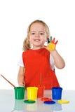 Happy little painter girl Stock Photos