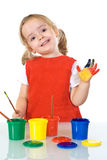 Happy little painter girl Royalty Free Stock Photos