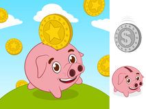 Happy little piggy bank and gold coin Stock Image