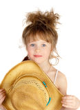 Happy little pretty cowgirl portrait Royalty Free Stock Photo