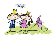 Happy little prince and princess Stock Image