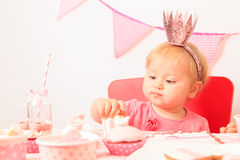 Happy little princess at girl party Stock Photos