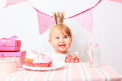 Happy little princess at girl party Royalty Free Stock Photography