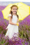 Happy little princess in lavender field with royalty free stock image
