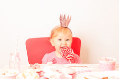 Happy little princess at pink girls party Stock Photo