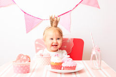 Happy little princess at pink party Stock Image