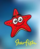Happy little red cartoon starfish Royalty Free Stock Photography