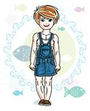 Happy little red-haired girl posing on marine background with fi. Shes and wearing fashionable casual clothes. Vector character Stock Photography