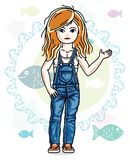 Happy little red-haired girl posing on marine background with fi. Shes and wearing fashionable casual clothes. Vector character Royalty Free Stock Image