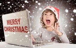 Happy little Santa stock photo