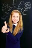 Happy little  school girl near school blackboard. Gesture ok. Amusing photo Stock Image